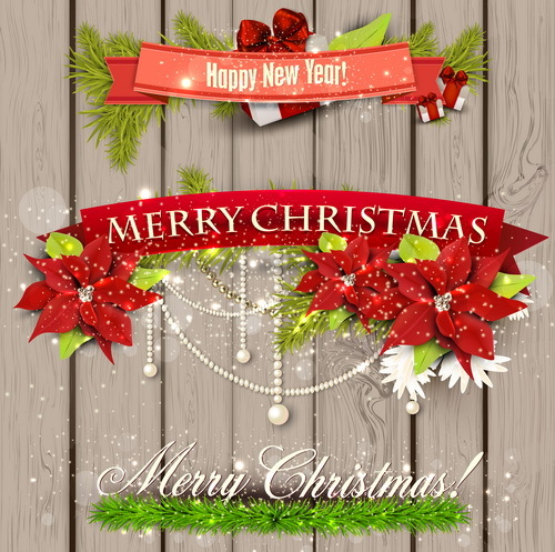 Christmas banner with wooden background vector 01