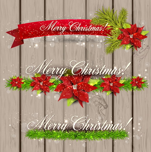 Christmas banner with wooden background vector 02