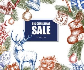 Christmas big sale hand drawn colored vector