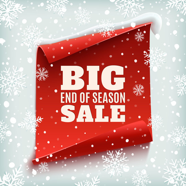 Christmas big sale poster with red paper banner vector 01
