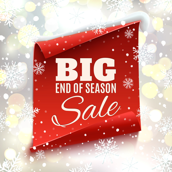 Christmas big sale poster with red paper banner vector 02