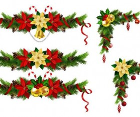 Christmas corner decorative with borders vector 01