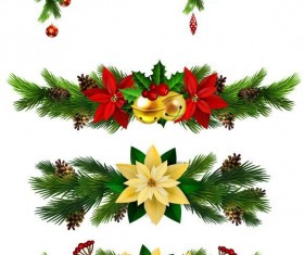 Christmas corner decorative with borders vector 02
