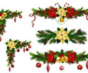 Christmas corner decorative with borders vector 03
