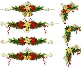 Christmas corner decorative with borders vector 04