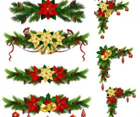 Christmas corner decorative with borders vector 05