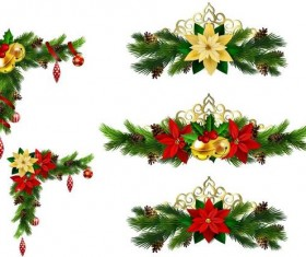 Christmas corner decorative with borders vector 06