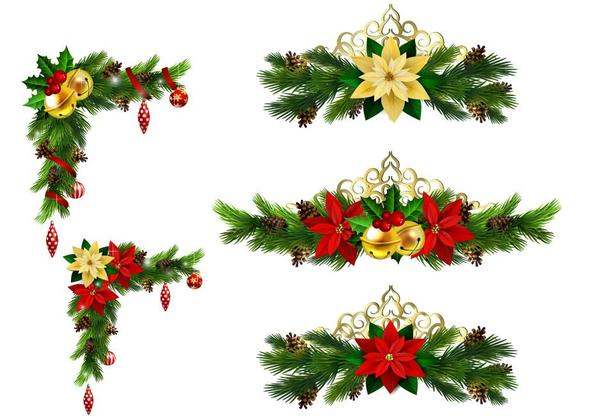Christmas corner decorative with borders vector