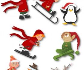 Christmas decor kids animals set vector