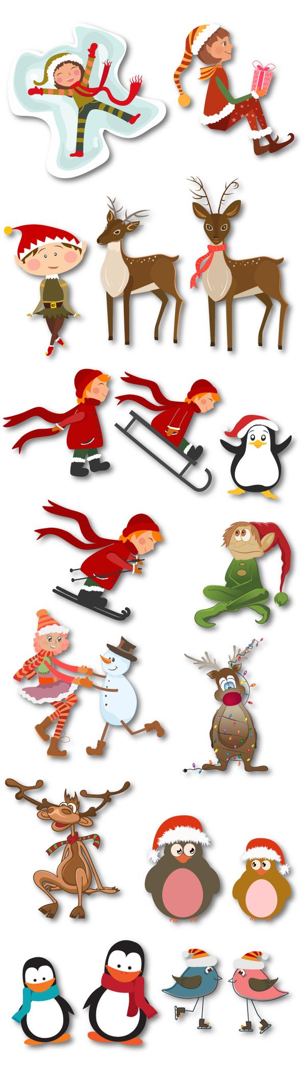 Christmas decor kids animals set vector