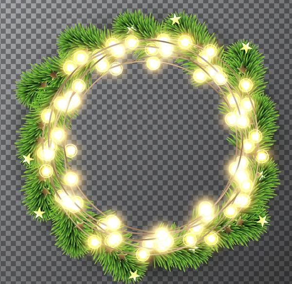 Christmas Fir Tree Wreath With Light Bulb Decor Vector