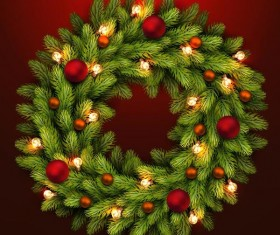 Christmas fir-tree wreath with red background vector