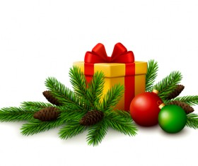 Christmas gift with fir tree branches and christmas balls on white background vector