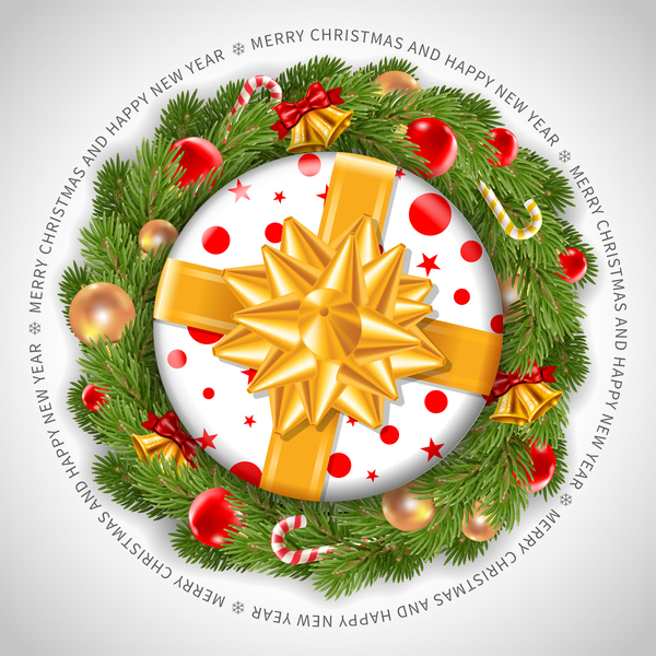 Christmas gift wreath vector