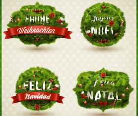 Christmas green labels illunstration vector