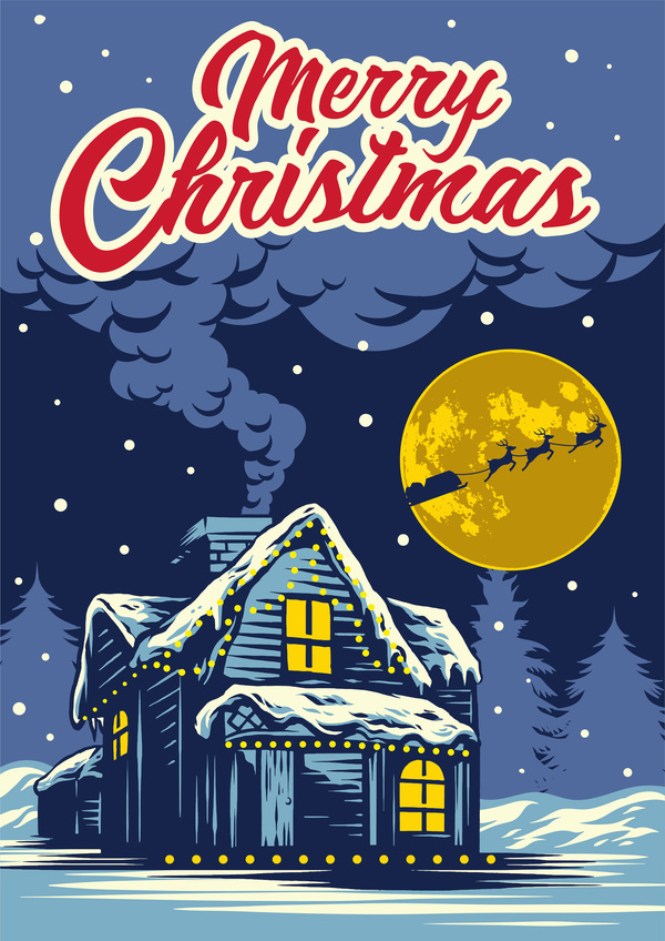 Christmas greeting card with night background vector