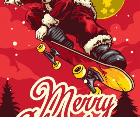 Christmas greeting card with santa claus ride skateboard vector 01