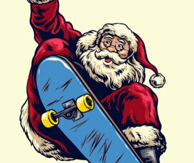 Christmas greeting card with santa claus ride skateboard vector 02