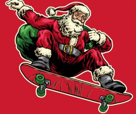 Christmas greeting card with santa claus ride skateboard vector 03