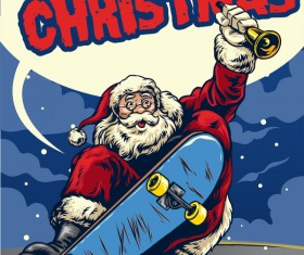 Christmas greeting card with santa claus ride skateboard vector 04