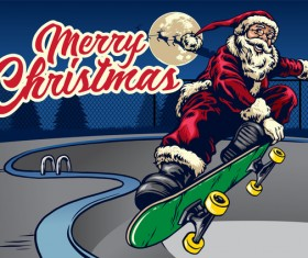 Christmas greeting card with santa claus ride skateboard vector 05