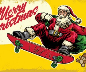 Christmas greeting card with santa claus ride skateboard vector 06