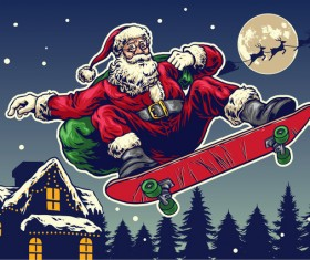 Christmas greeting card with santa claus ride skateboard vector 07