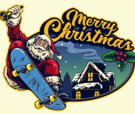 Christmas greeting card with santa claus ride skateboard vector 08