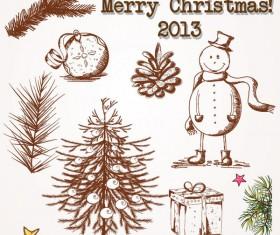 Christmas ornaments set vector 01