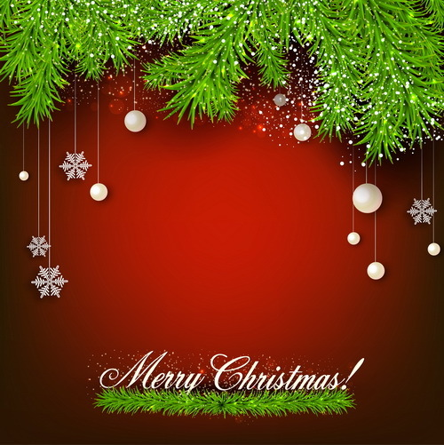 Christmas pine needles red background vector