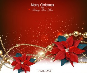 Christmas red background with shiny jewelry vector 02