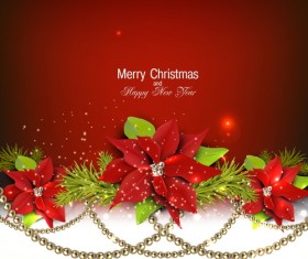 Christmas red background with shiny jewelry vector 03