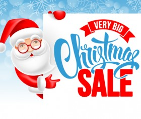 Christmas sale background with cute santa vector