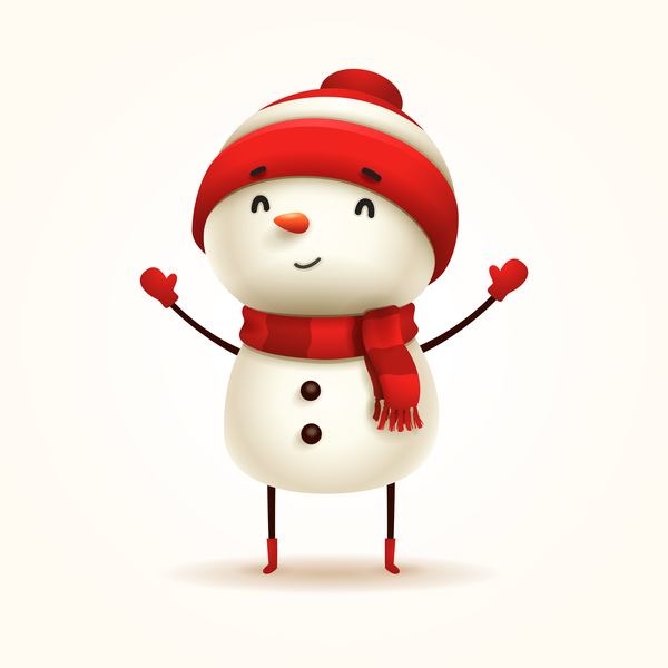 christmas snowman cute with white background vectors free