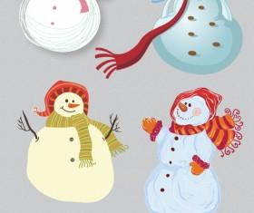 Christmas snowmen design vector set