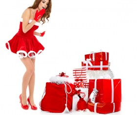 Christmas surprise woman Stock Photo