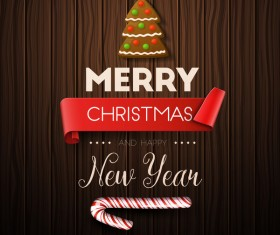Christmas with happy new year wooden background vector