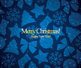 Christmas with new year blue pattern vectors