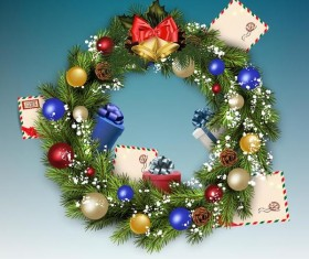 Christmas wreath with postcard vector material