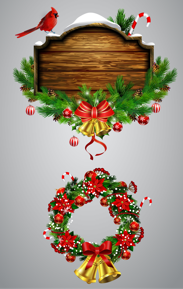 Christmas wreaths with wooden labels vector material 01