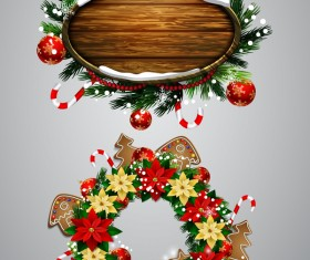 Christmas wreaths with wooden labels vector material 02