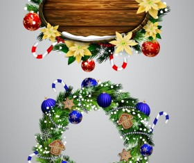 Christmas wreaths with wooden labels vector material 03