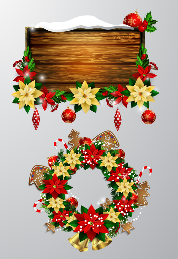 Christmas wreaths with wooden labels vector material 04
