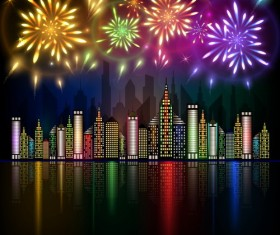 City night with beautiful firework vector background 01