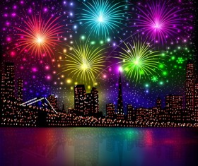 City night with beautiful firework vector background 02
