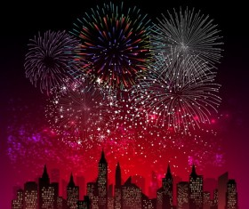 City night with beautiful firework vector background 03