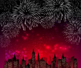 City night with beautiful firework vector background 04