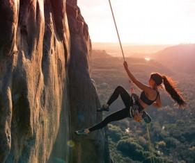 Climbing extreme sports Stock Photo