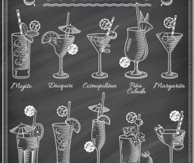 Cocktails blackboard menu hand drawn vector