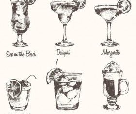 Cocktails hand drawn vector illustration set 01